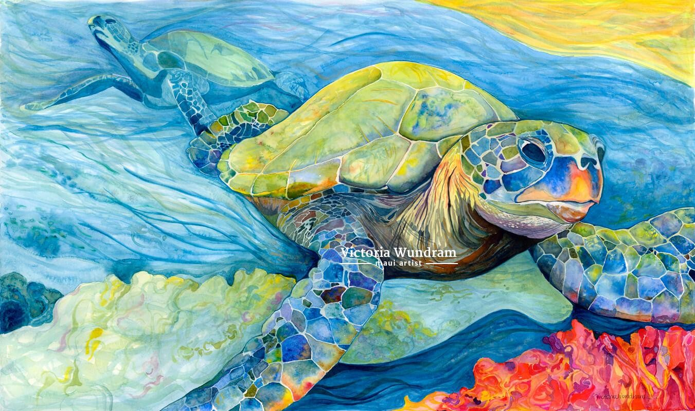 Victoria Wundram | Maui Artist | Honu Dreams in Color