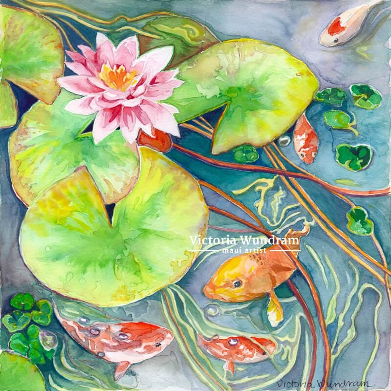 Victoria Wundram | Maui Artist | Koi and Lilies in the Pond