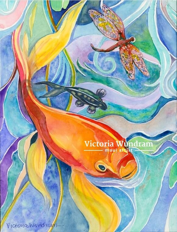 Victoria Wundram | Maui Artist | Large Koi Small Koi and Dragonfly