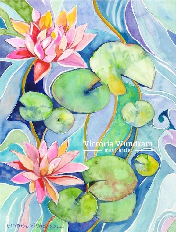 Victoria Wundram | Maui Artist | Lilies in the Pond