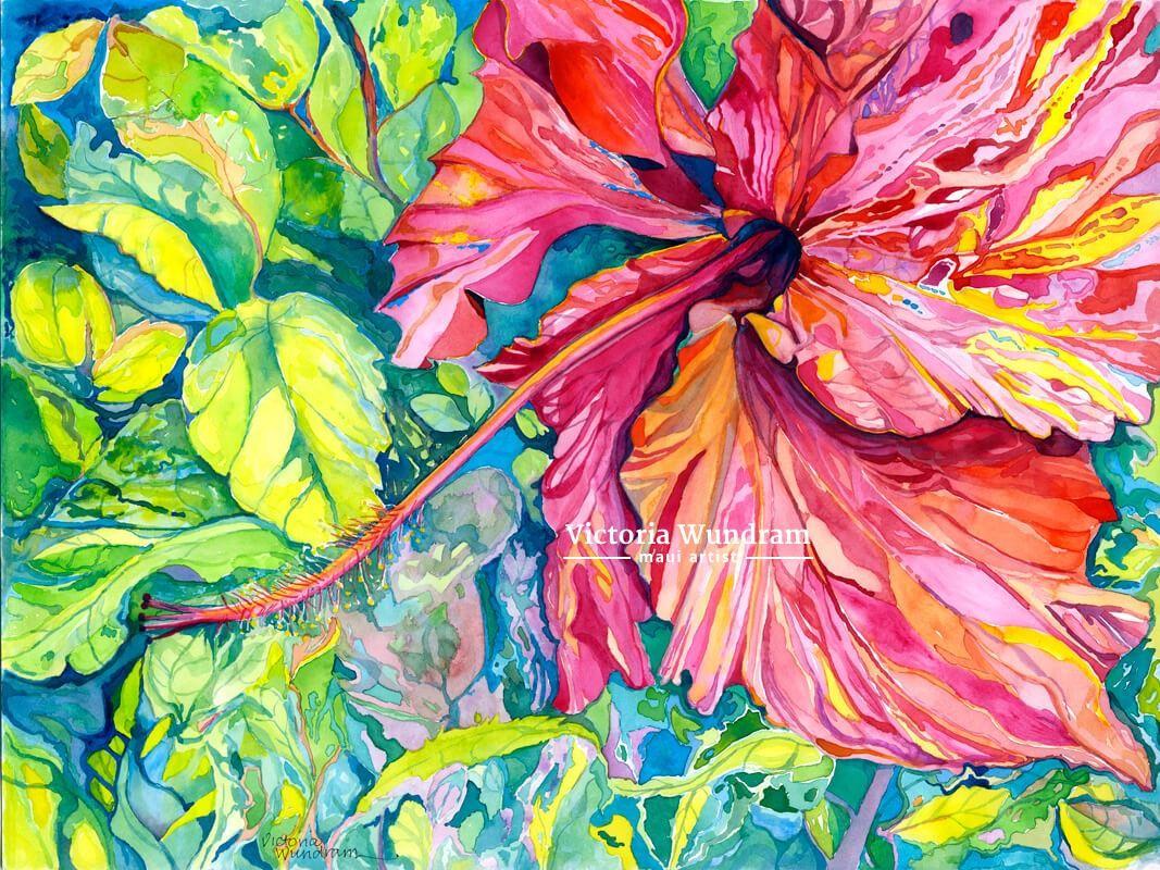 Victoria Wundram | Maui Artist | Red Hibiscus