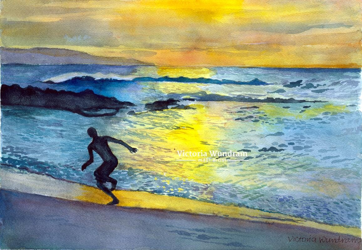 Victoria Wundram | Maui Artist | Sunset Run at Napili Bay