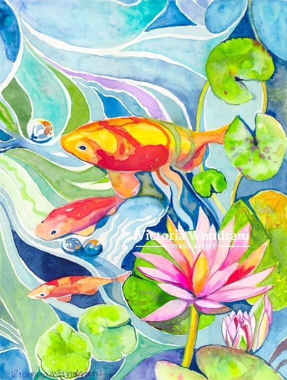 Victoria Wundram | Maui Artist | Three Koi in the Lilies