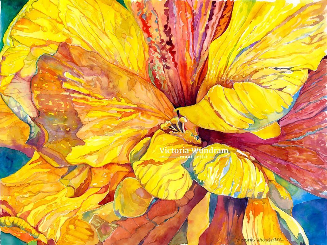 Victoria Wundram | Maui Artist | Yellow Hibiscus